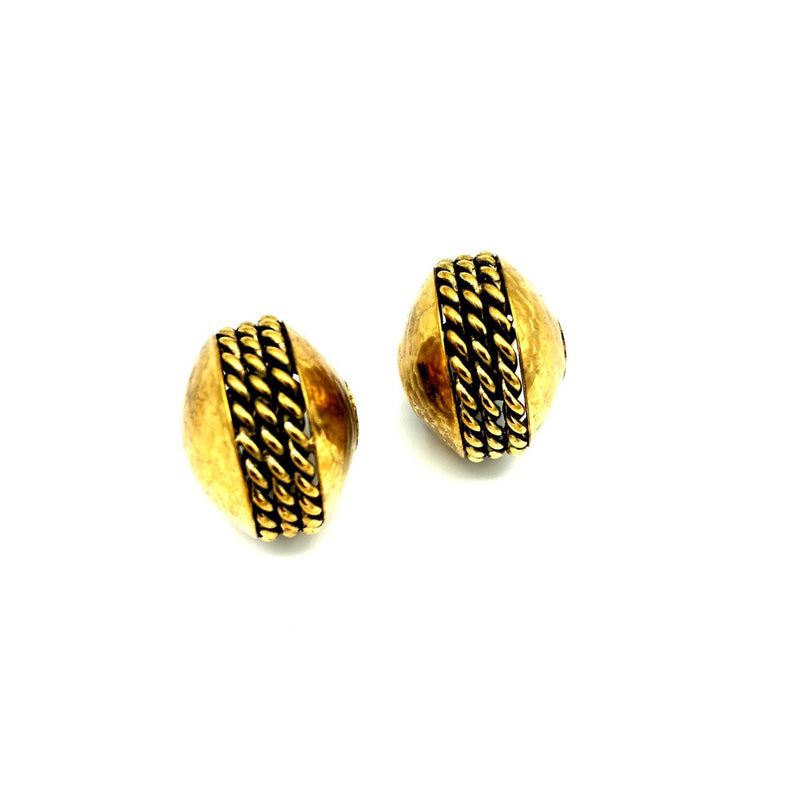 Vintage Gold Brutalist Half Hoops Rossi Bijoux Clip-On Earrings-Earrings-24 Wishes