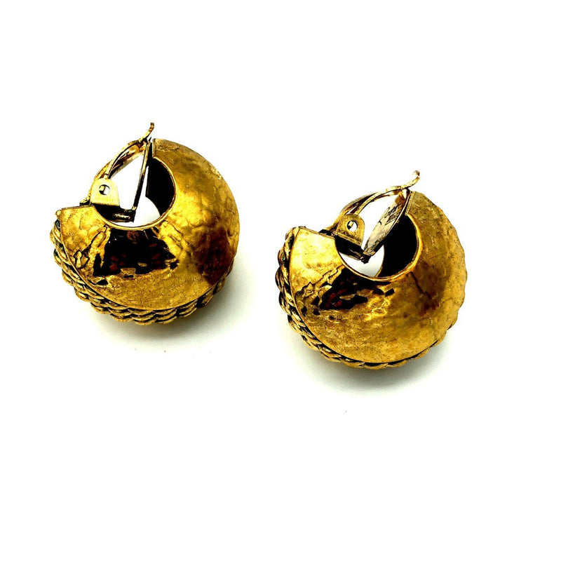 Vintage Gold Brutalist Half Hoops Rossi Bijoux Earrings