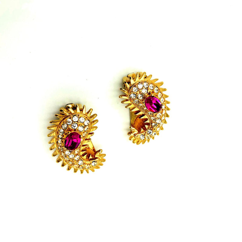 Kenneth Jay Lane Gold Maharani Paisley Vintage Earrings
