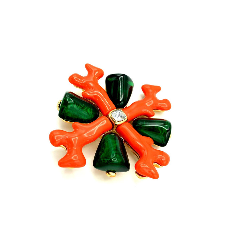 Kenneth Jay Lane Large Resin Orange Coral Maltese Cross Brooch