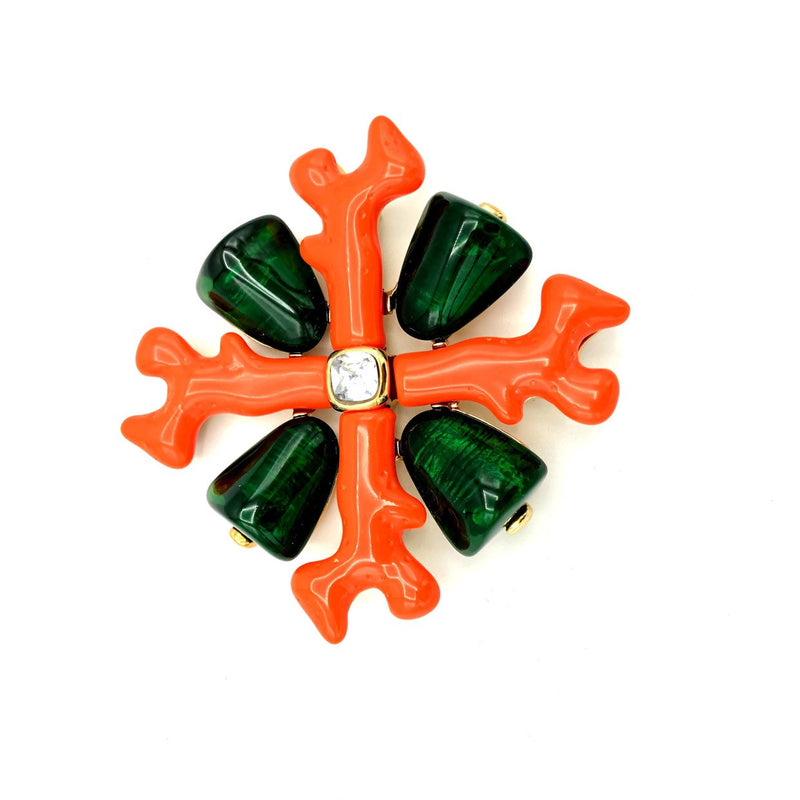 update alt-text with template Kenneth Jay Lane Large Resin Coral Maltese Cross Brooch-Brooches & Pins-Kenneth Jay Lane-[trending designer jewelry]-[kenneth jay lane KJL jewelry]-[Sustainable Fashion]