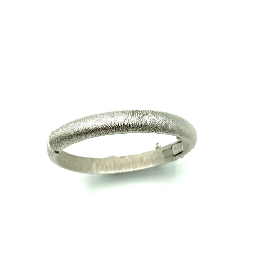 Silver Vintage Trifari Hinged Thin Bangle Bracelet
