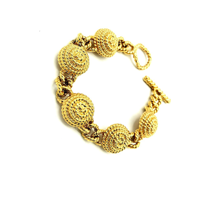 update alt-text with template Vintage Monet Classic Gold Chunky Stacking Bracelet-Bracelets-Monet-[trending designer jewelry]-[monet jewelry]-[Sustainable Fashion]