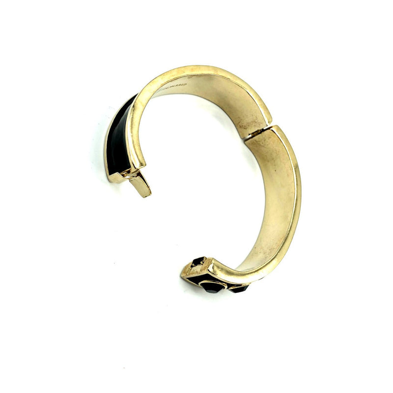 Givenchy Black Enamel & Rhinestone Vintage Hinged Bangle Bracelet-Bracelets-Givenchy-[trending designer jewelry]-[givenchy jewelry]-[Sustainable Fashion]