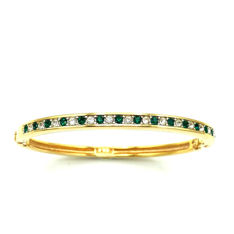 Gold Swarovski White & Green Crystal Hinged Bangle Bracelet
