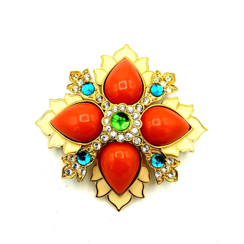 Joan Rivers Cabochon Orange Coral Maltese Cross Vintage Brooch