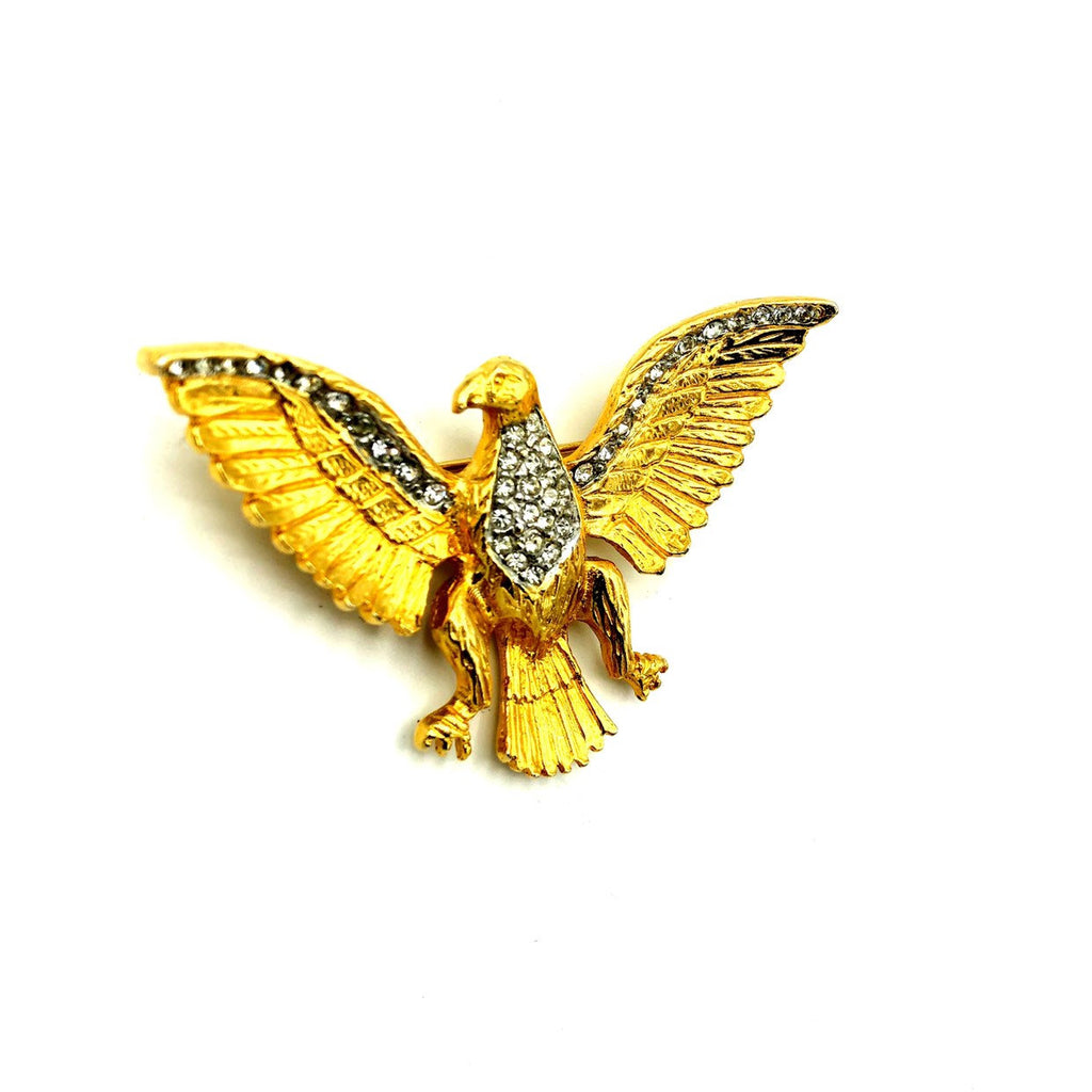 Les Bernard Gold Patriotic Eagle Vintage Brooch-Sustainable Fashion with Vintage Style-Trending Designer Fashion-24 Wishes