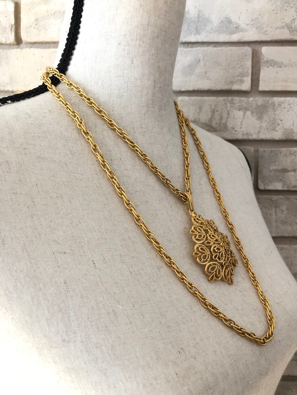update alt-text with template Gold Crown Trifari Vintage Layered Long Chain Pendant-Necklaces & Pendants-Trifari-[trending designer jewelry]-[trifari jewelry]-[Sustainable Fashion]