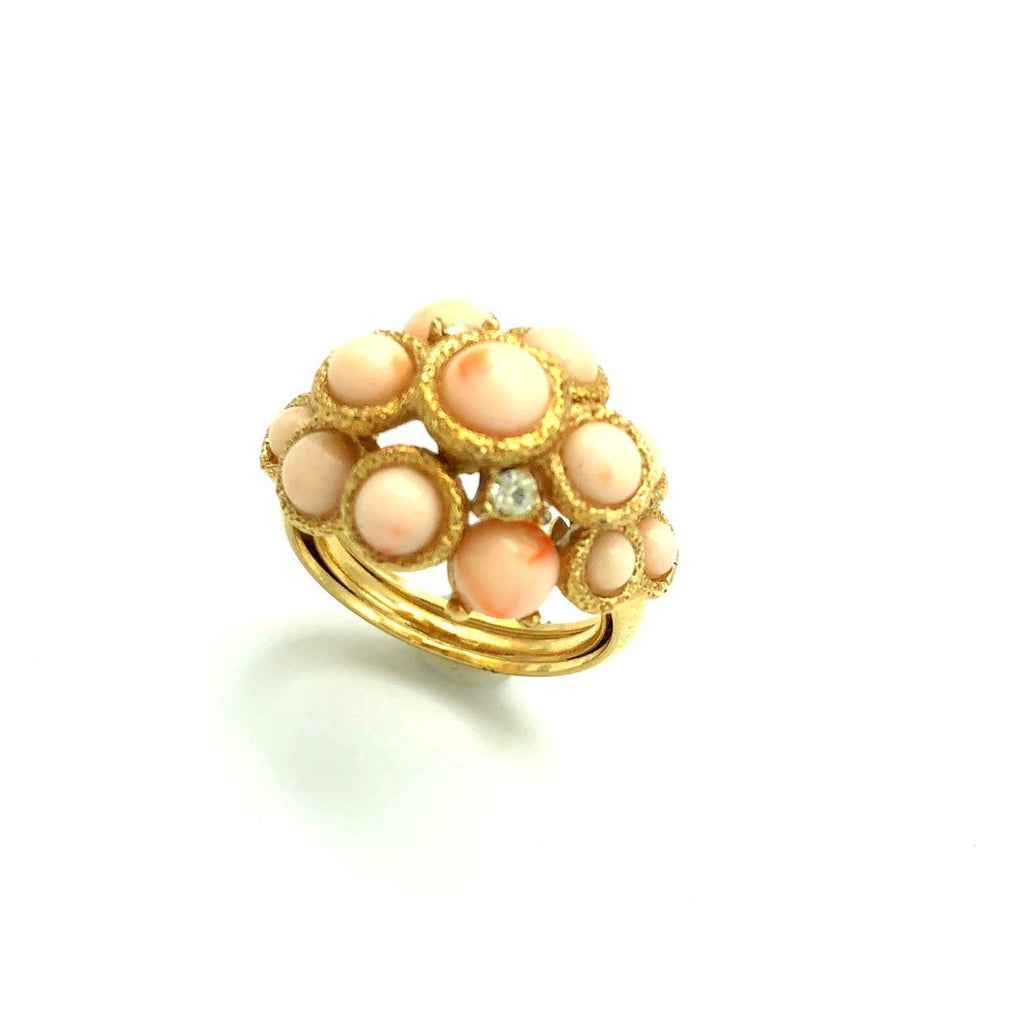 Vintage Avon Coral Cluster Dome Vintage Cocktail Ring