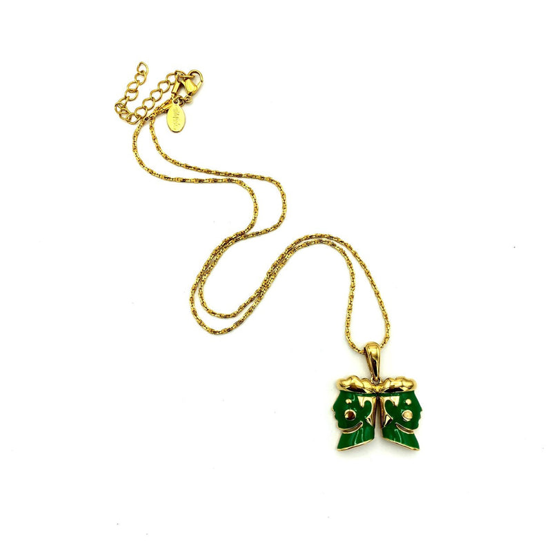 Bob Mackie Gold Chain Green Jester Vintage Pendant-Sustainable Fashion with Vintage Style-Trending Designer Fashion-24 Wishes