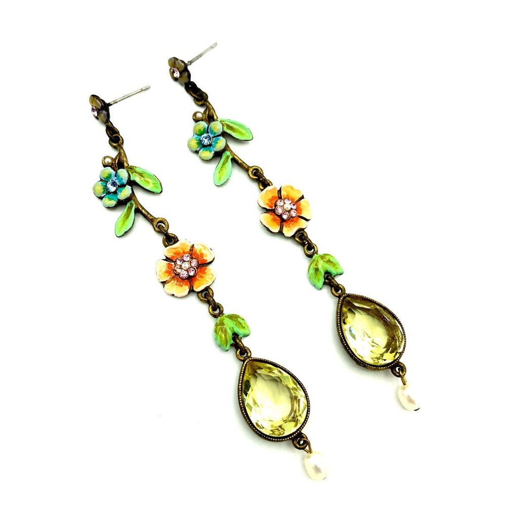Ben Amun Crystal Flower Long Dangle Vintage Earrings