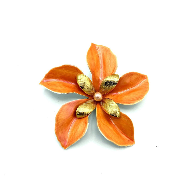 Orange Peach Enamel Flower Vintage Brooch