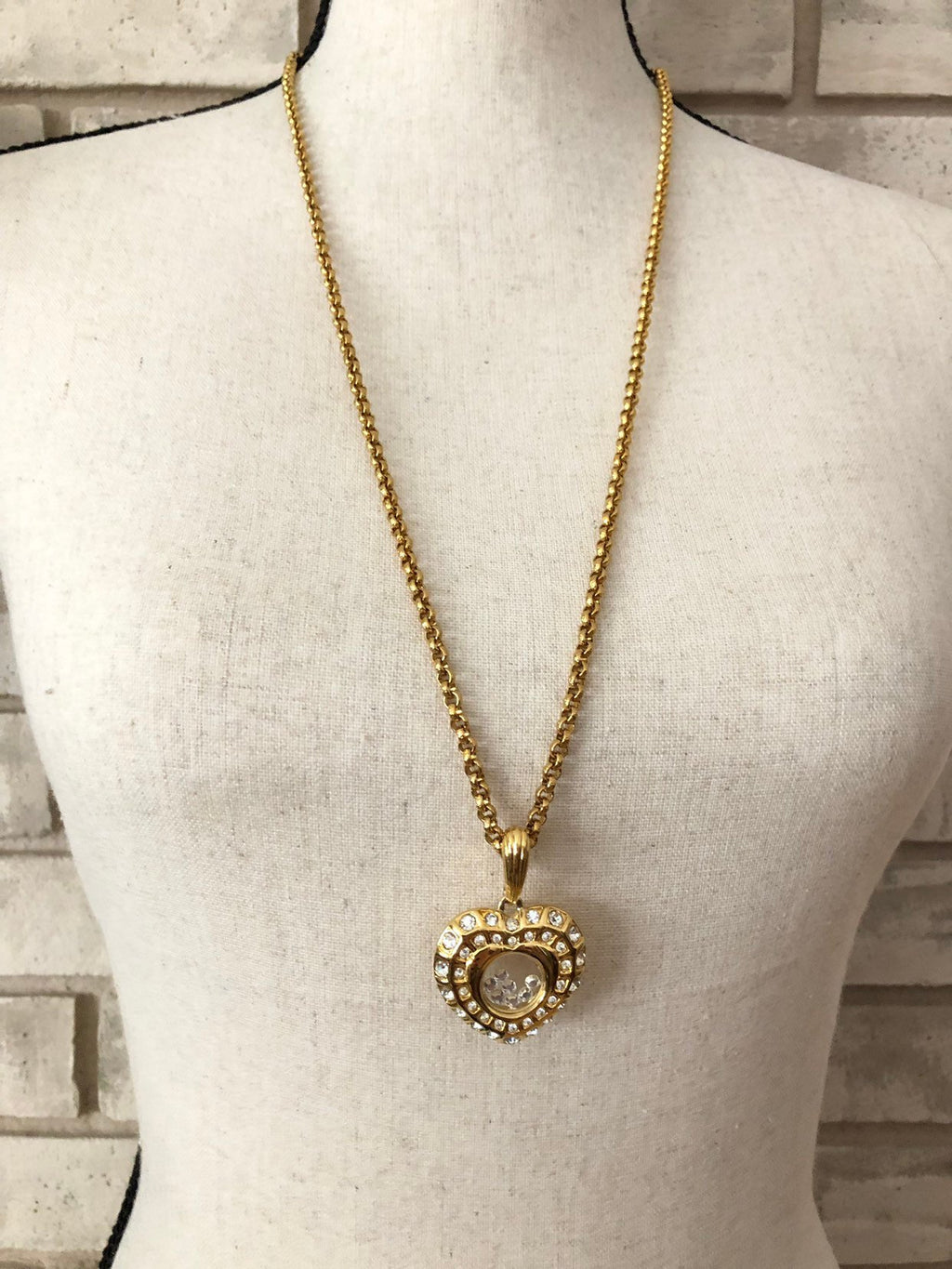 Nolan Miller Gold Long Layering Chain Rhinestone Heart Pendant-Sustainable Fashion with Vintage Style-Trending Designer Fashion-24 Wishes
