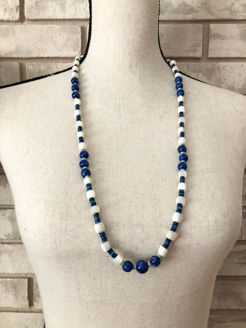update alt-text with template Kenneth Jay Lane Blue Puka Shell MOP Boho Vintage Layering Necklace-Necklaces & Pendants-Kenneth Jay Lane-[trending designer jewelry]-[kenneth jay lane KJL jewelry]-[Sustainable Fashion]
