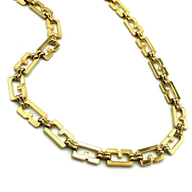 Gold Classic Givenchy Logo Long Chain Necklace-Sustainable Fashion with Vintage Style-Trending Designer Fashion-24 Wishes