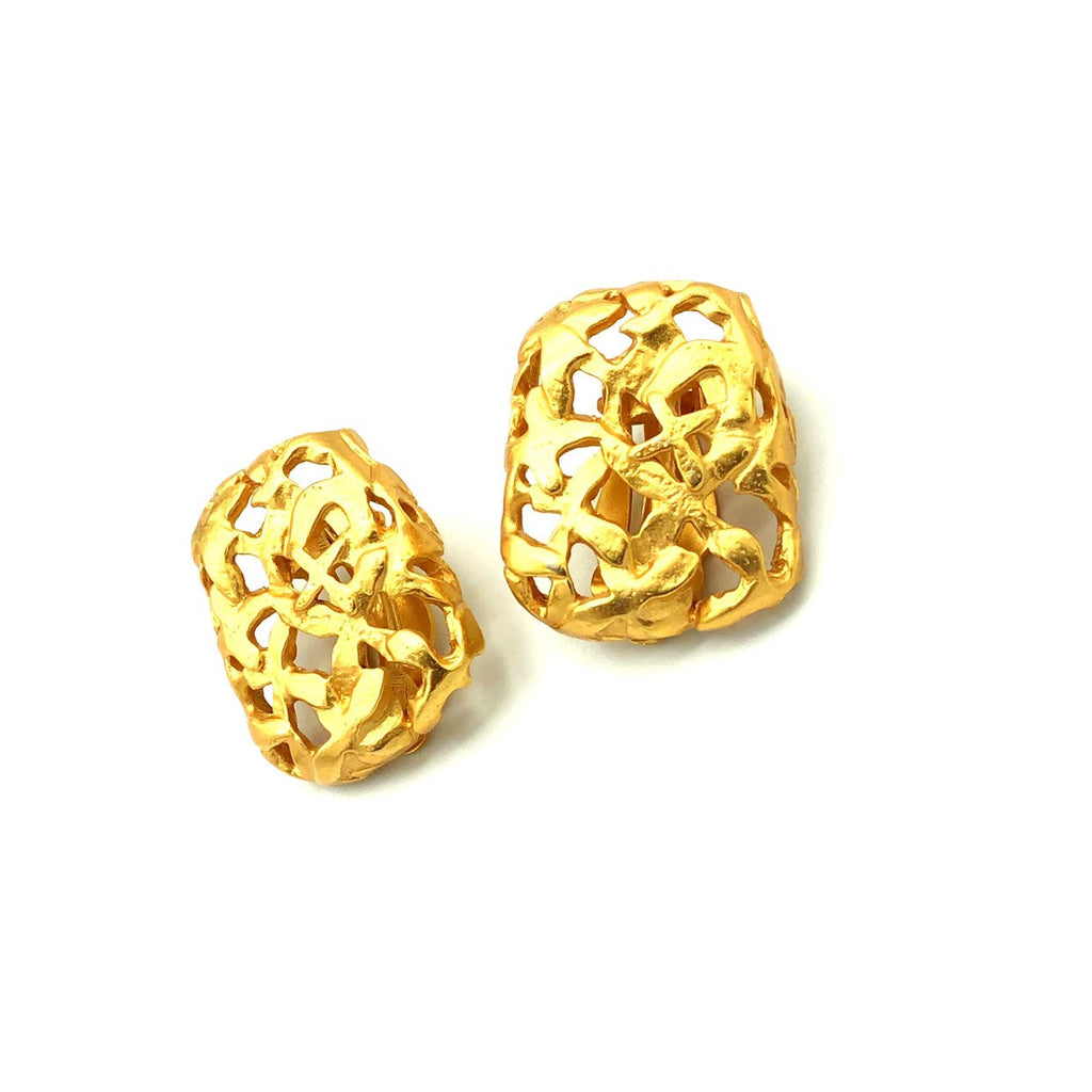 Anne Klein Matt Gold Abstract Vintage Earrings