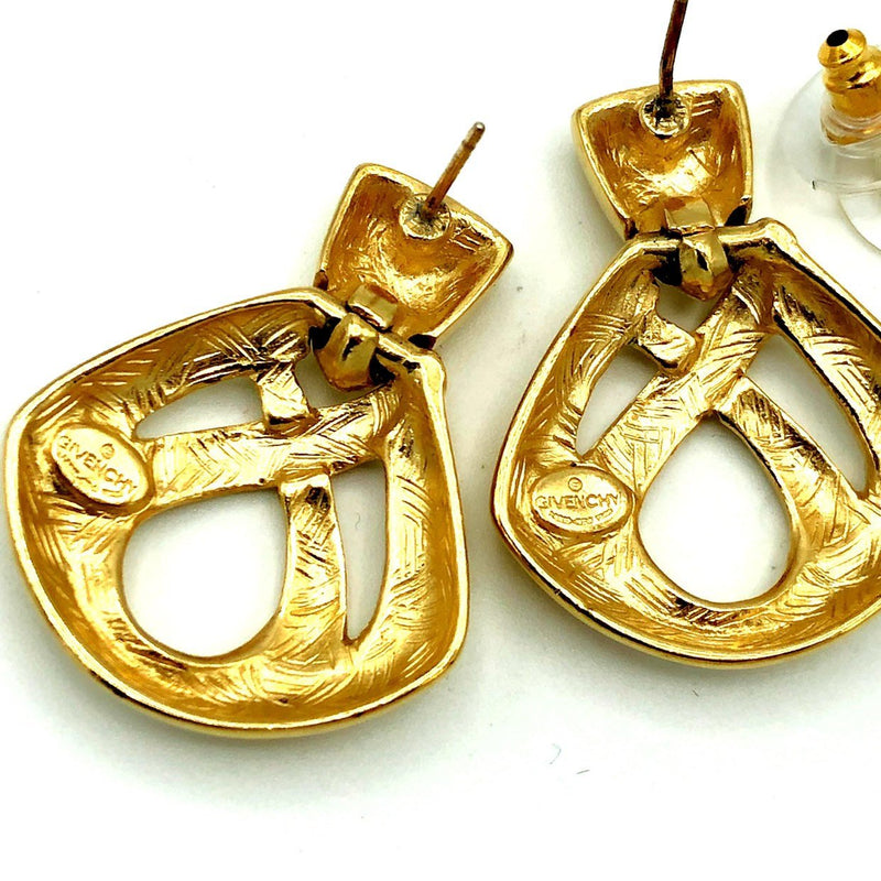 Givenchy Gold Door Knocker Vintage Earrings