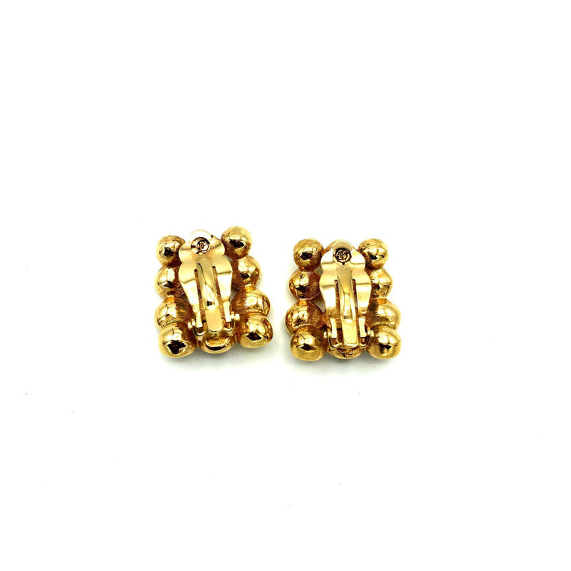 Three Row Rhinestone & Black Enamel Vintage Earrings