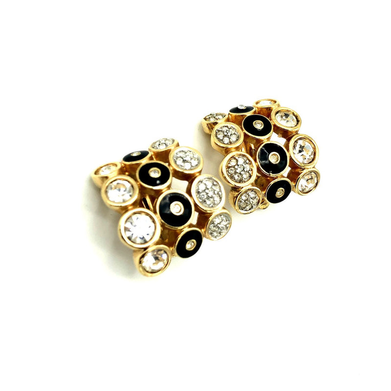 Three Row Rhinestone & Black Enamel Vintage Clip-On Earrings-Sustainable Fashion with Vintage Style-Trending Designer Fashion-24 Wishes
