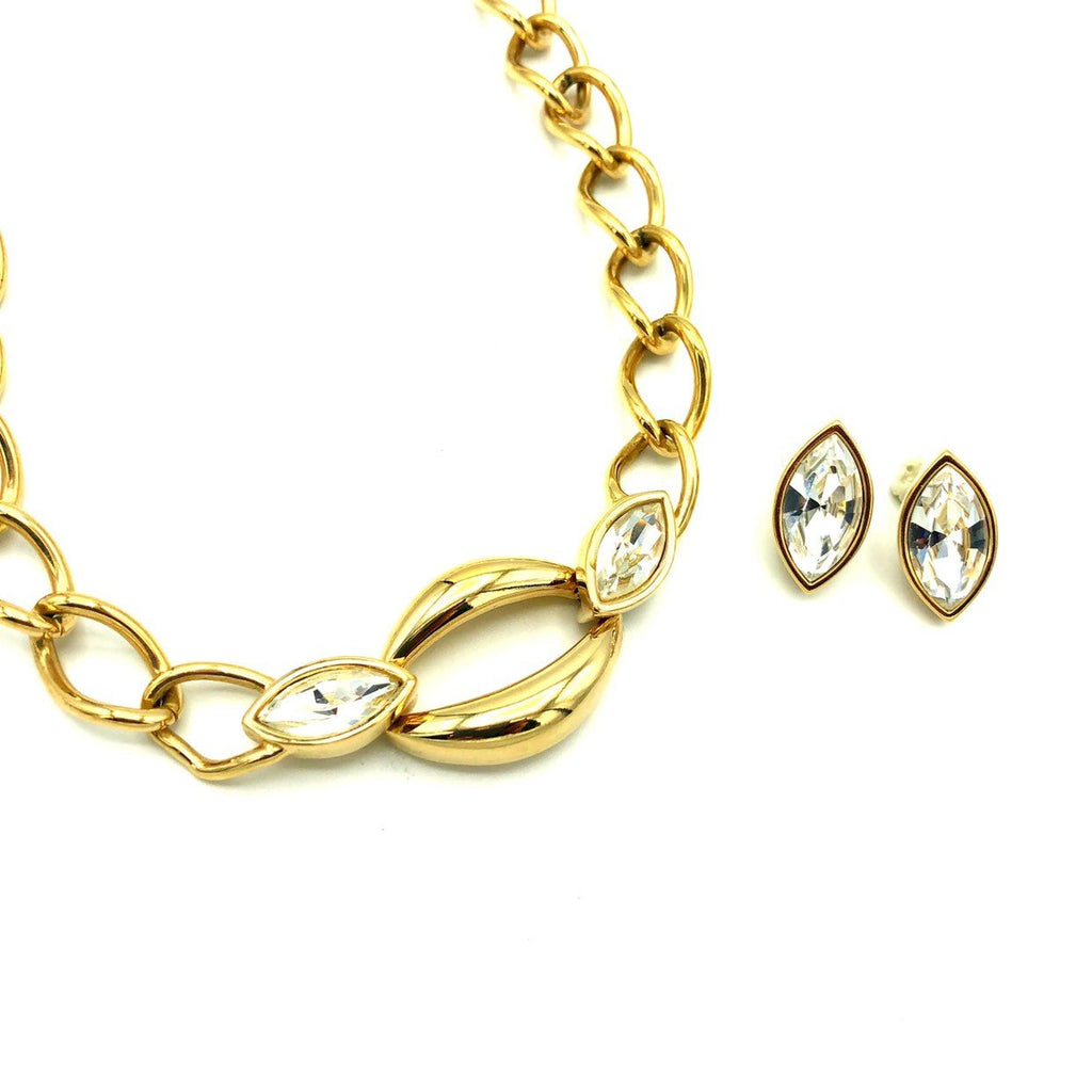 Gold SAL Swarovski Marquise Clear Crystal Vintage Jewelry Set