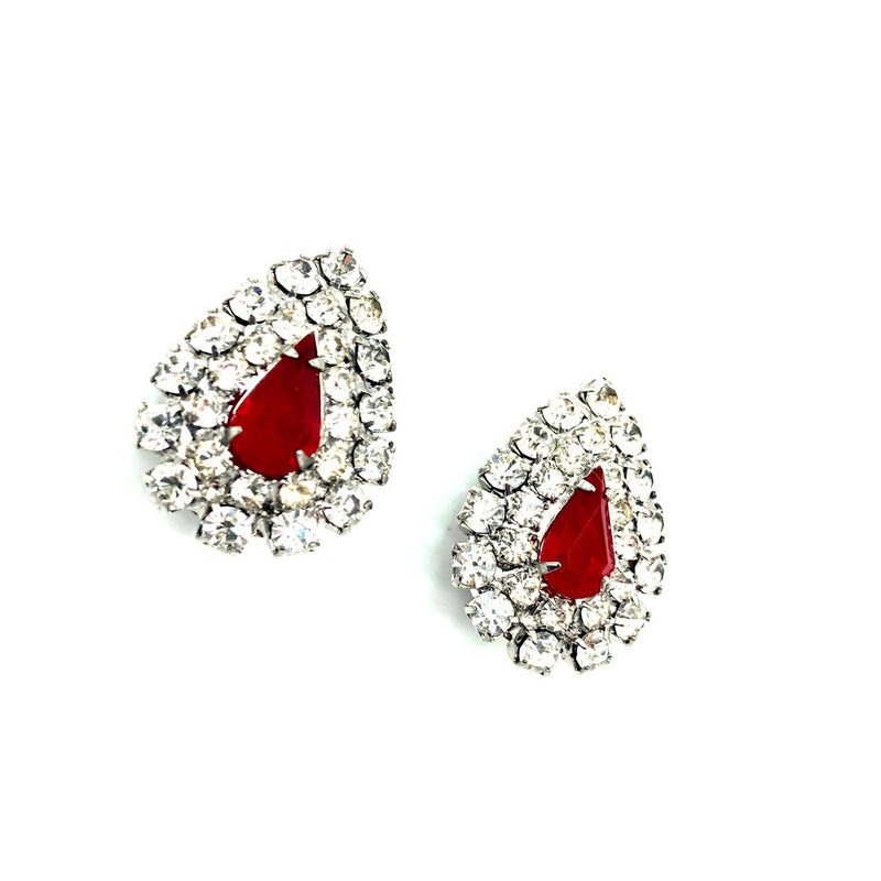 Kenneth Jay Lane Red Teardrop Rhinestone Vintage Earrings