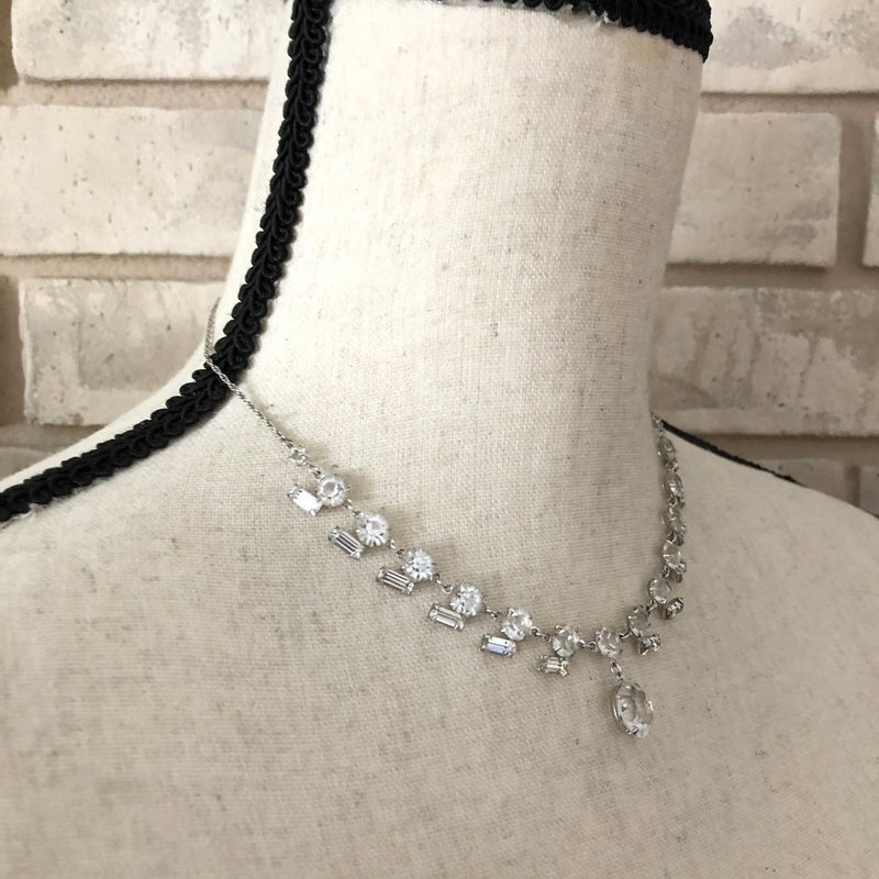 Vintage Sterling Silver Art Deco Clear Crystals Rhinestone Occasion Pendant
