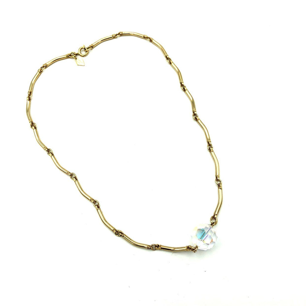 Sarah Coventry Gold Link Chain Large AB Crystal Vintage Pendant