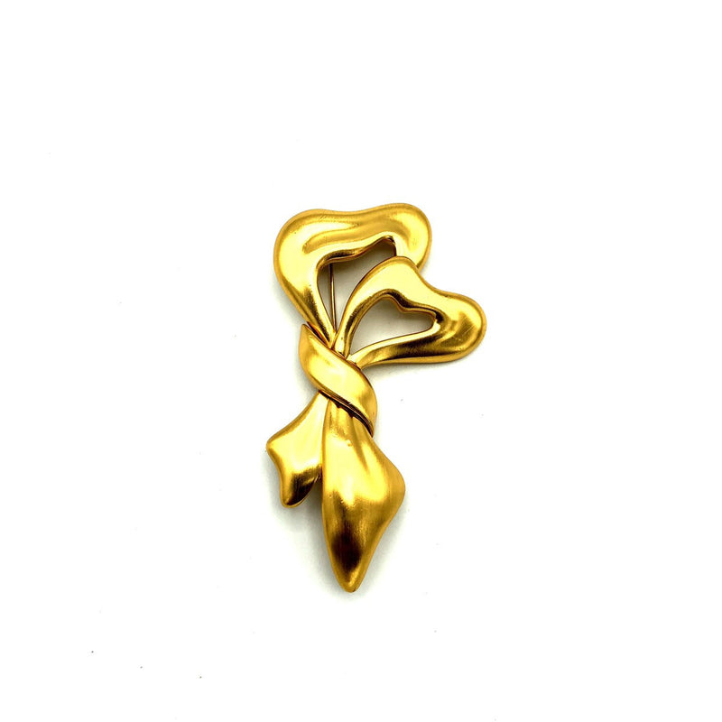 Matt Gold Classic Monet Ribbon Hearts Vintage Brooch