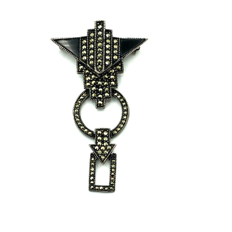 Judith Jack Sterling Silver Marcasite Art Deco Style Dangle Brooch-Sustainable Fashion with Vintage Style-Trending Designer Fashion-24 Wishes