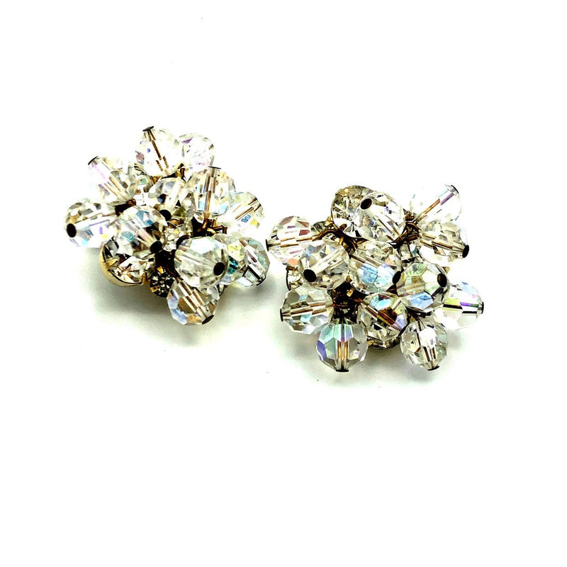 Gold Cluster Clear Crystal & Rhinestone Vintage Earrings-Sustainable Fashion with Vintage Style-Trending Designer Fashion-24 Wishes
