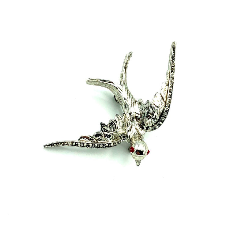 Silver Vintage Flying Bird Figural Brooch-Sustainable Fashion with Vintage Style-Trending Designer Fashion-24 Wishes