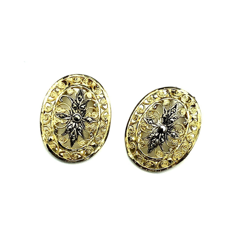 Gold Alice Caviness Filigree Marcasite Sterling Vintage Earrings-Sustainable Fashion with Vintage Style-Trending Designer Fashion-24 Wishes
