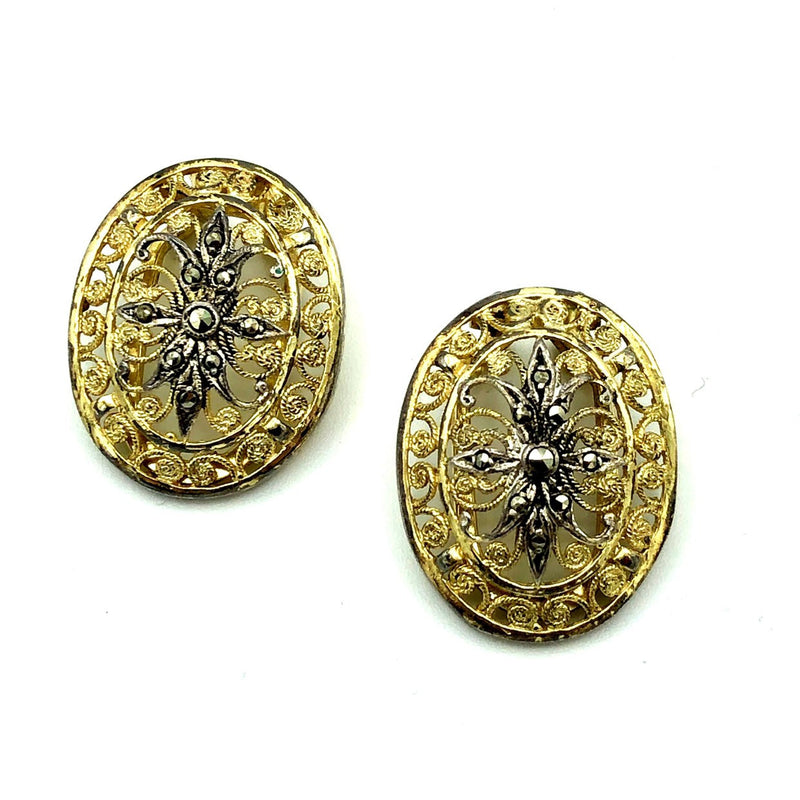Gold Alice Caviness Filigree Marcasite Sterling Vintage Earrings