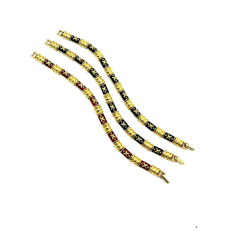 Joan Rivers Gold Link Enamel Vintage Stacking Bracelets