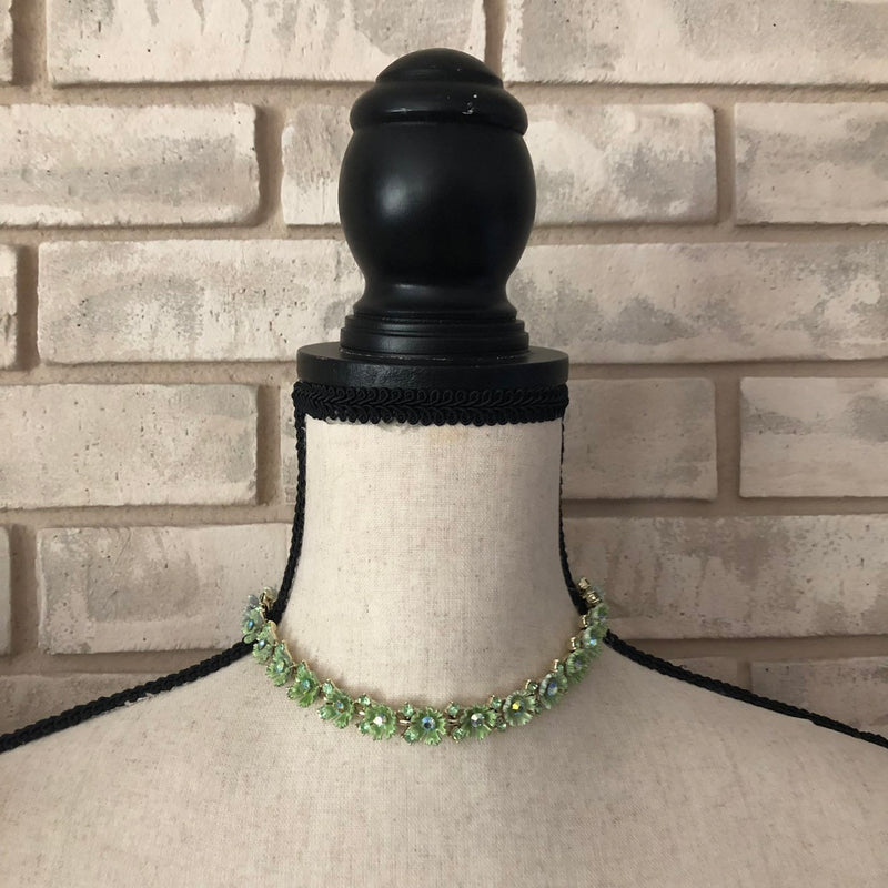 Vintage Lisner Green Enamel & Rhinestone Flower Necklace