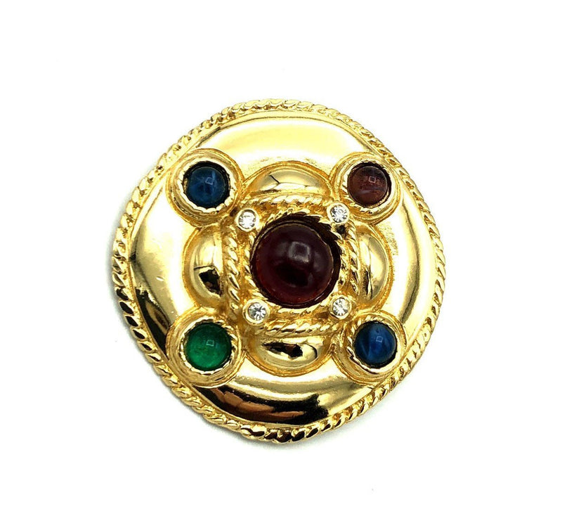 Givenchy Gripoix Cabochon Glass Classic Gold Brooch