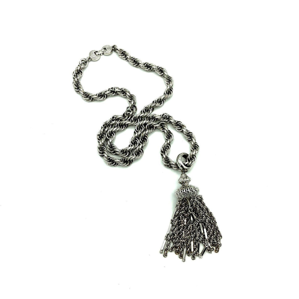update alt-text with template Vintage Monet Silver Rope Chain Filigree Tassel Pendant-Necklaces & Pendants-Monet-[trending designer jewelry]-[monet jewelry]-[Sustainable Fashion]