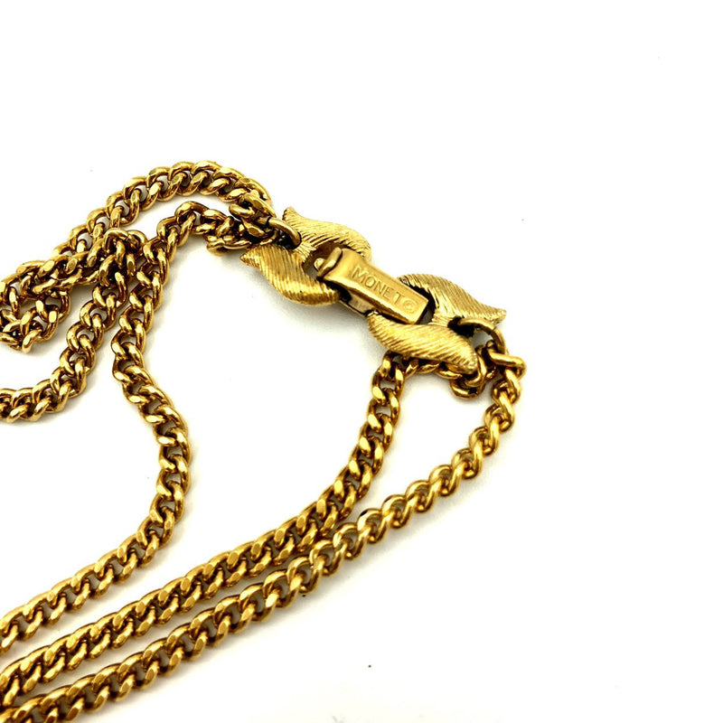 Vintage Monet Gold Layered Chain Tassel Pendant