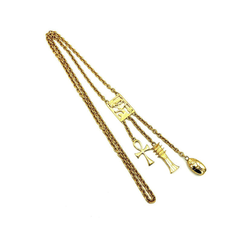 update alt-text with template Kenneth Jay Lane Gold Egyptian Revival Statement Vintage Pendant-Necklaces & Pendants-Kenneth Jay Lane-[trending designer jewelry]-[kenneth jay lane KJL jewelry]-[Sustainable Fashion]