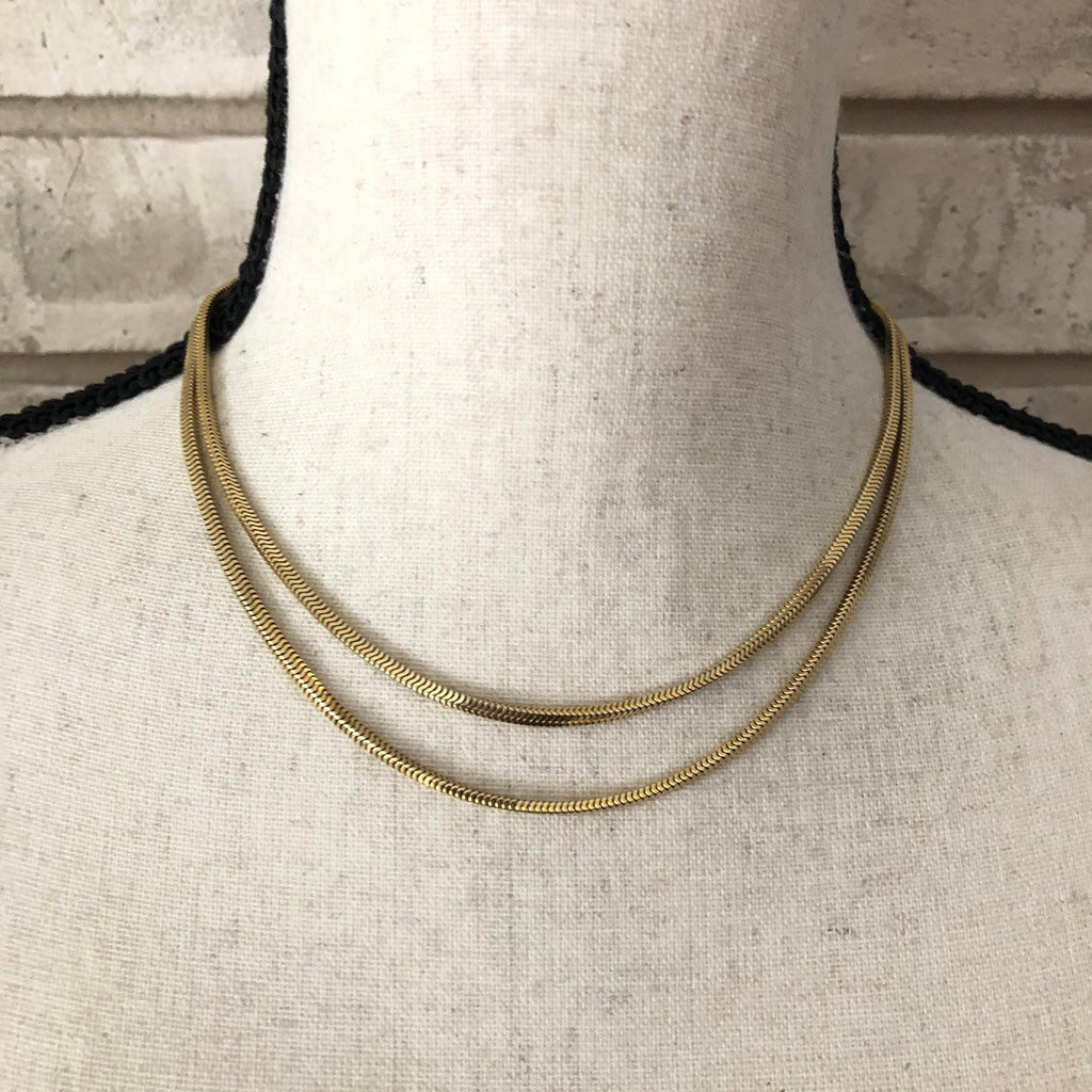 12K Gold Filled Layering Double Snake Chain Vintage Necklace
