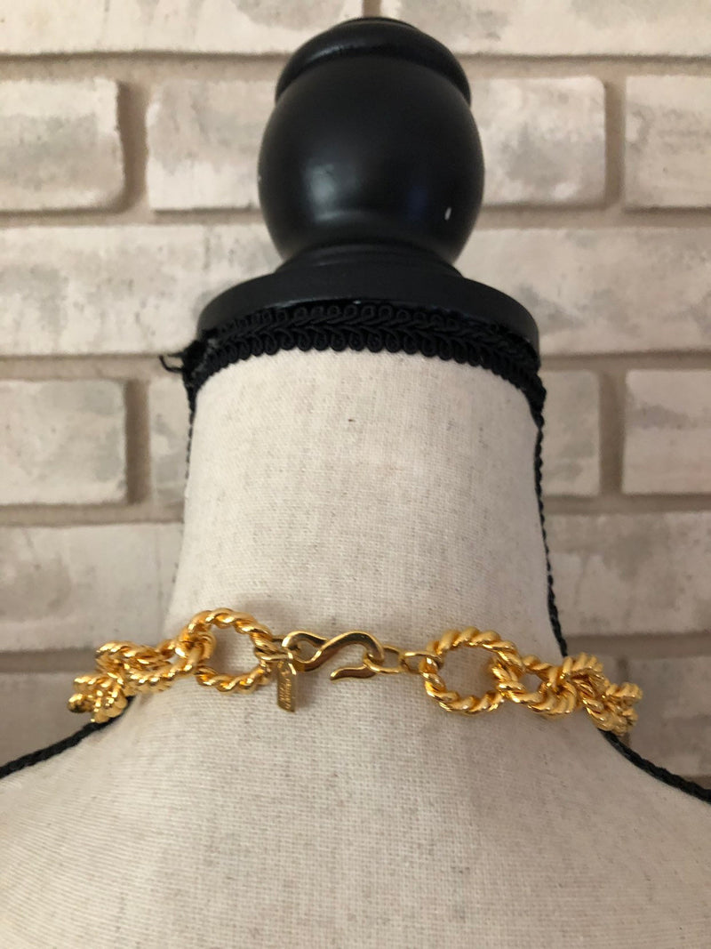 Kenneth Jay Lane Classic Gold Long Twisted Link Chain Necklace