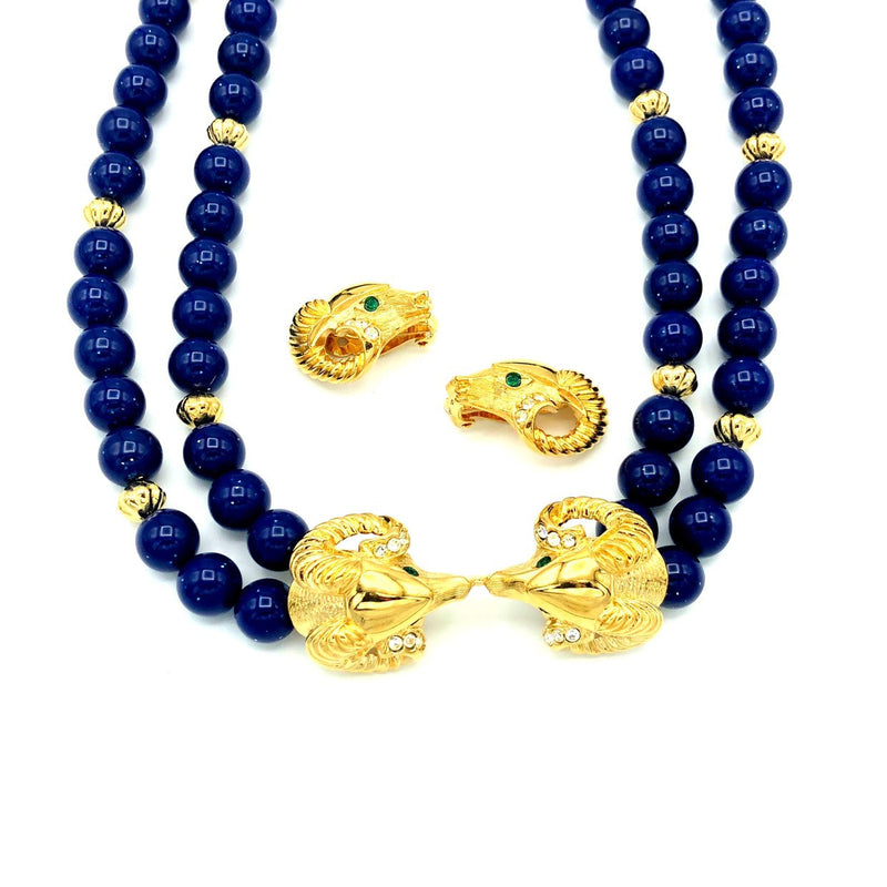Kenneth Jay Lane Double Strand Blue Beads Ram Head Jewelry Set-Sustainable Fashion with Vintage Style-Trending Designer Fashion-24 Wishes