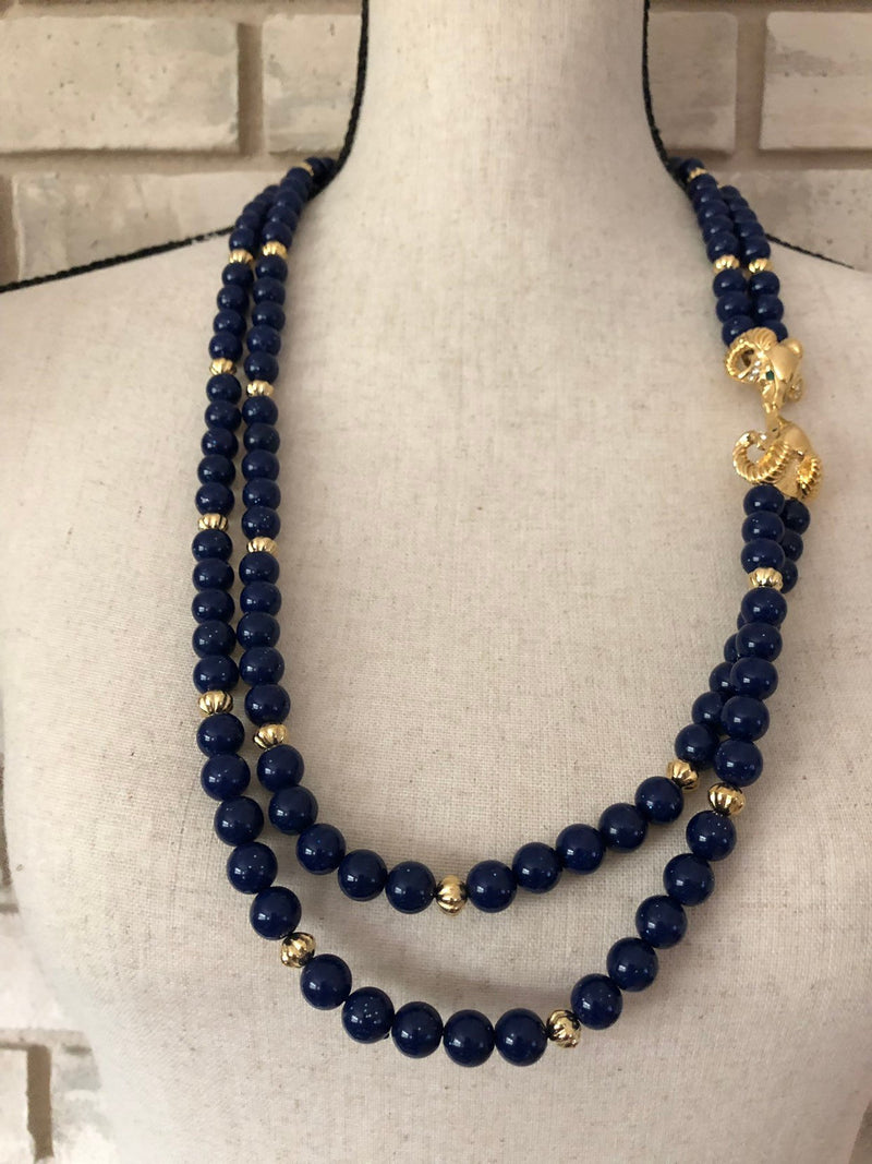 update alt-text with template Kenneth Jay Lane Double Strand Blue Beads Ram Head Jewelry Set-Necklaces & Pendants-Kenneth Jay Lane-[trending designer jewelry]-[kenneth jay lane KJL jewelry]-[Sustainable Fashion]