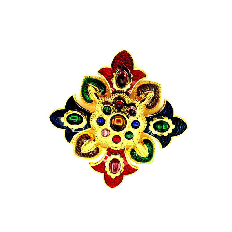 Joan Rivers Colorful Enamel Maltese Cross Vintage Brooch-Sustainable Fashion with Vintage Style-Trending Designer Fashion-24 Wishes