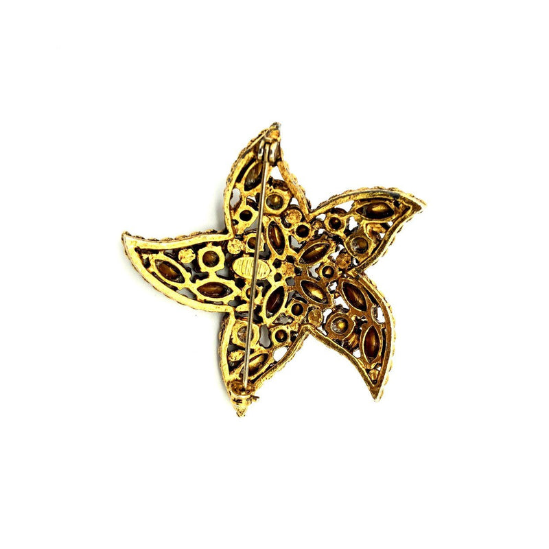Gold Regency Red & Green Rhinestone Starfish Vintage Brooch-Sustainable Fashion with Vintage Style-Trending Designer Fashion-24 Wishes