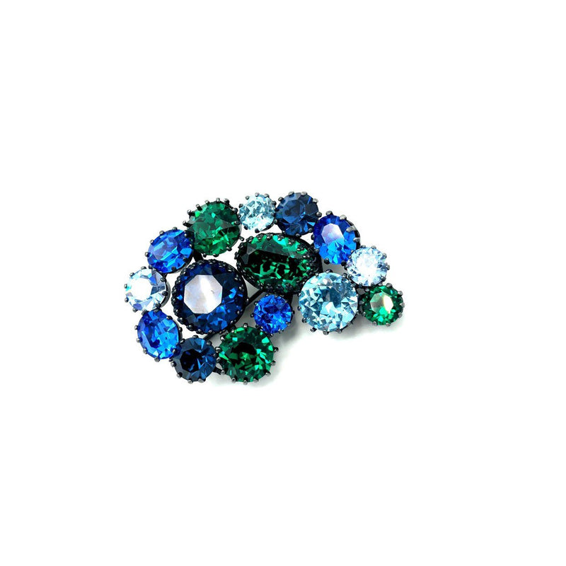 Austria Blue Green Rhinestone Paisley Vintage Brooch-Sustainable Fashion with Vintage Style-Trending Designer Fashion-24 Wishes