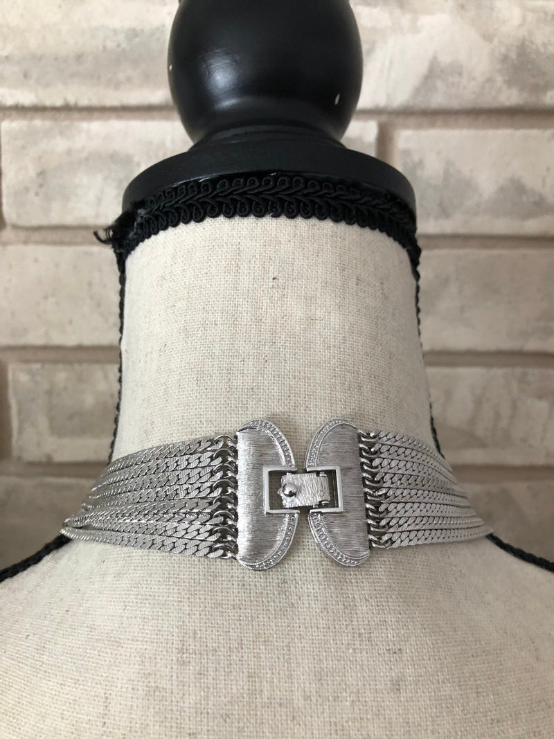 Silver Monet Layered Long Multi-Strand Chain Vintage Necklace
