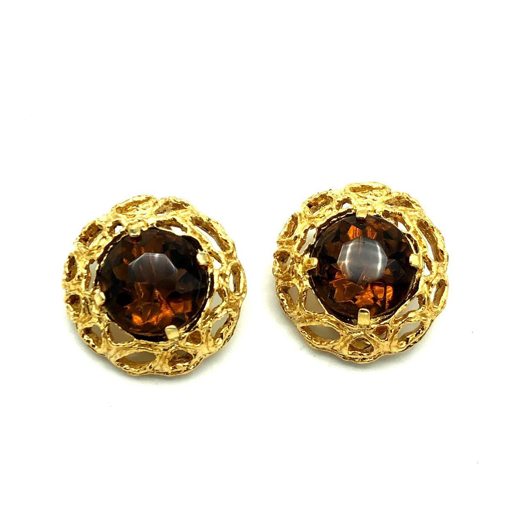 Large Gold Modernist Brown Faceted Glass Earrings