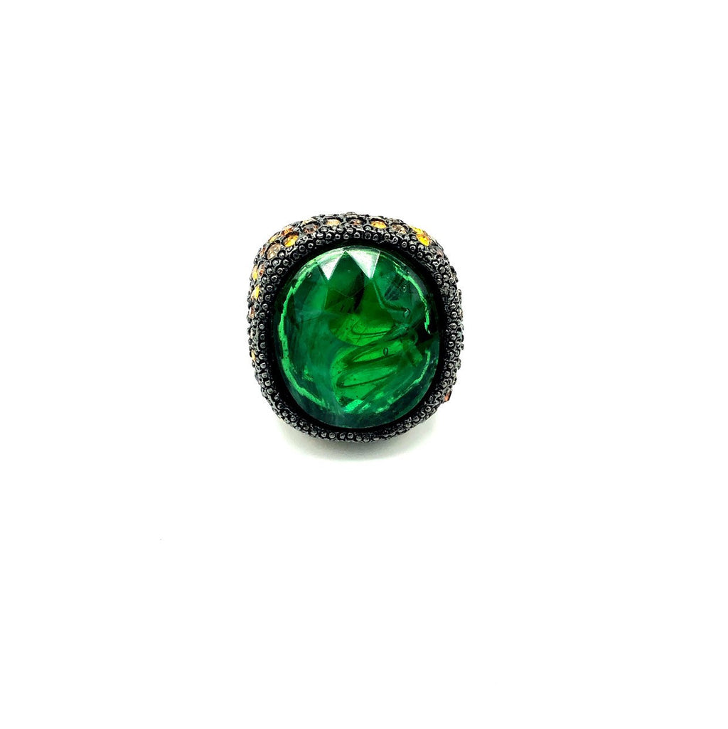 Kenneth Jay Lane Green & Brown Pave Rhinestone Statement Cocktail Ring