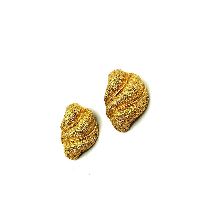 Classic Les Bernard Gold Textured Abstract Swirl Vintage Earrings
